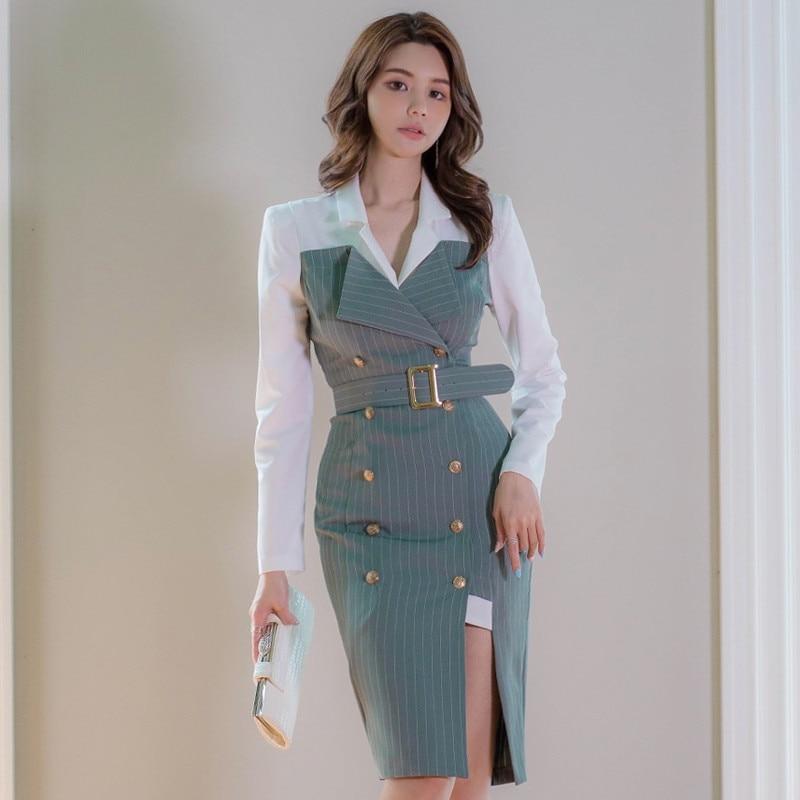 فساتين مزدوجة النساء الربيع حزام العمل نمط مخطط Bodycon فستان الخريف ضئيلة الصدر الكورية مع