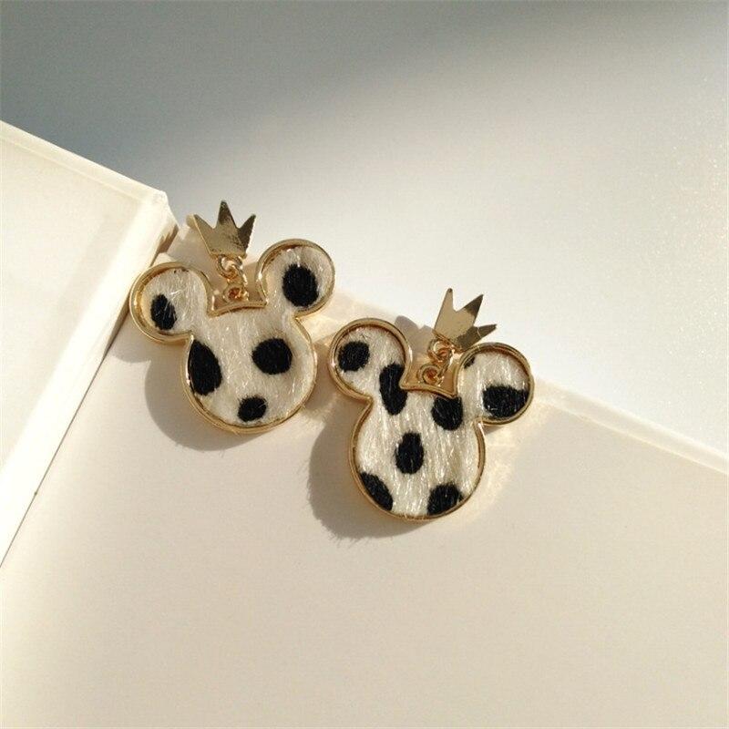 Mini Mouse Earing Tiny Mickey Pendientes para las mujeres leopardo Furry Kids Earring Animal PEQUEÑO Pendientes de dibujos animados película joyería