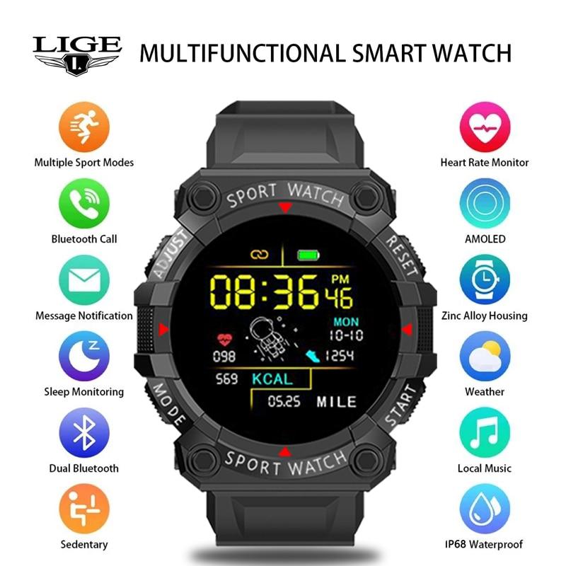 LIGE 2021 New Smart Watch Fitness Color Screen Smart Sport Bracelet Activity Running Tracker Heart R