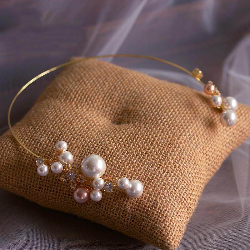Accesorios para el cabello de la boda barroca perla diadema Tiara de oro Vintage corona cristal oro cabeza de joyería nupcial