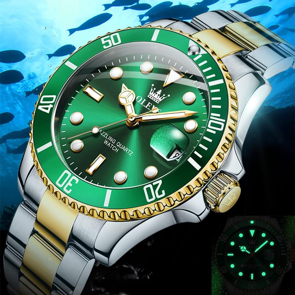 أفضل العلامة التجارية الرجال ساعة الأخضر الفاخرة موضة مقاوم للماء الكوارتز الرياضة ساعات الفولاذ للرجال ساعة اليد Reloj Hombre + Box