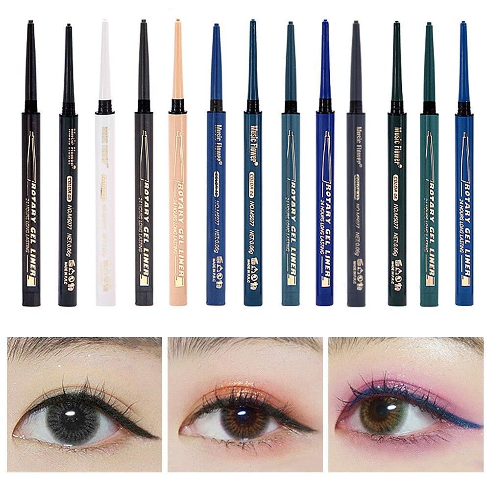 Delineador de ojos de Gel Music Flower líquido impermeable fácil de llevar 14 colores maquillaje de larga duración mate delineador de ojos blanco gris negro delineador de ojos