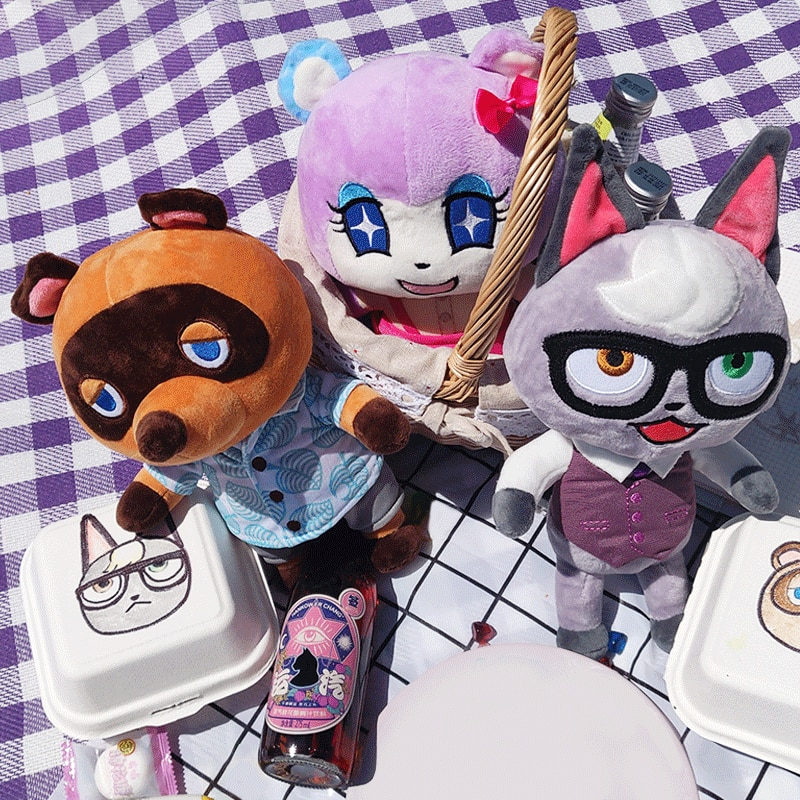 Juguete de peluche de Cruce de Animales de 28cm, juguetes de peluche de Juego Japonés de los personajes de Raymond, Marshall, Judy, Tom Nook, regalos de cumpleaños