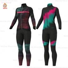 Женская зимняя теплая флисовая велосипедная длинная трикотажная одежда, воздухопроницаемая Ropa Ciclismo с длинным рукавом, MTB велосипедная одеж...