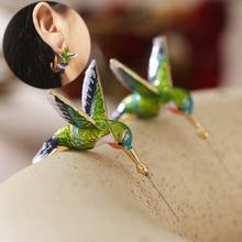 1Pair Hummingbird Stud Earrings Christmas Ornament Copper Creative Dripping Oil Animal Ear Stud Wome
