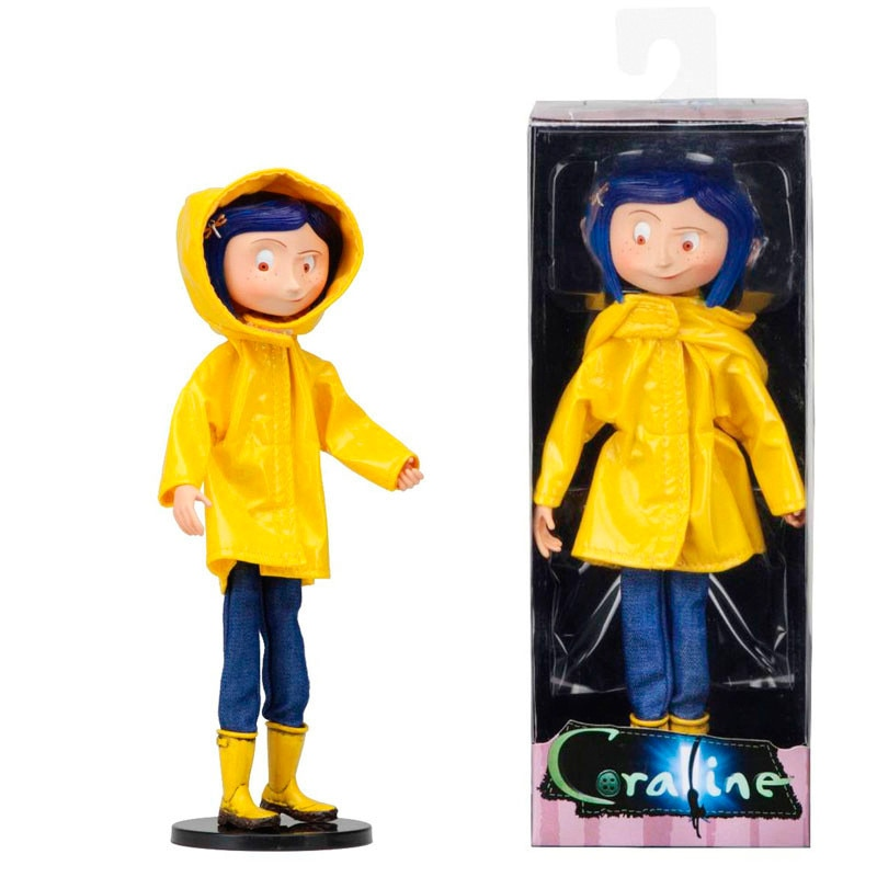 Hot Sale NECA Coraline & The Secret Door Coraline Y La Puerta Secreta Raincoat Action Figure Toys Collection Model Doll Toy Gift