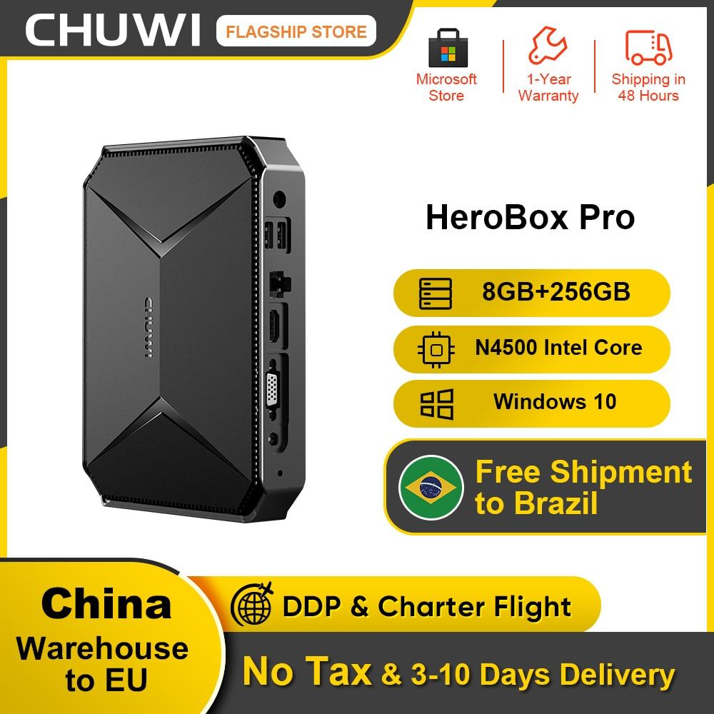 CHUWI Herobox Pro Mini PC Intel Gemini-Lake N4500 Quad Core LPDDR4 8GB 256G SSD Windows 10 Operating System wtih HD LAN VGA Port