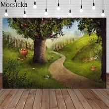 Фон для фотосъемки сказочный лес красное яблоко дерево забор кролик Новорожденный ребенок портрет день рождения фон для фотостудии
