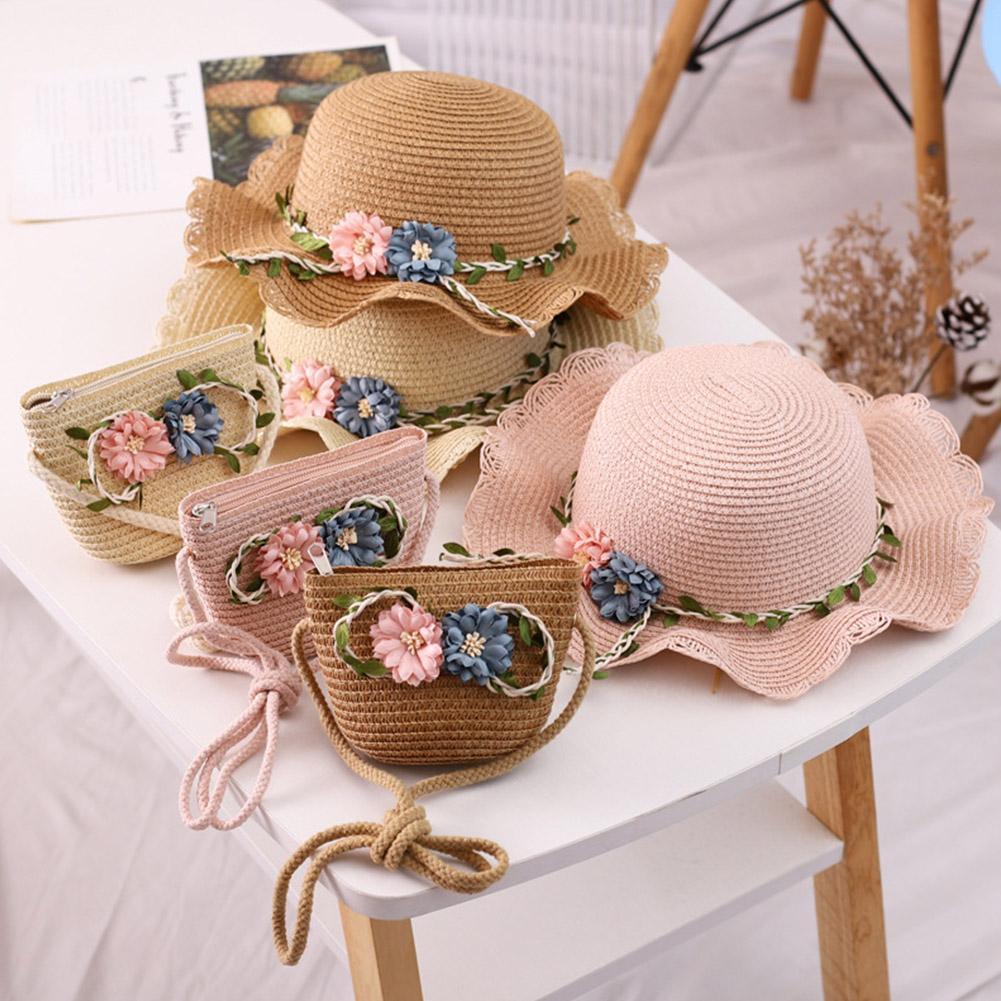 Summer Beach Hat Wide Brim Floppy Straw Lace Bowknot Flower Sun Hat Female Baby Girls Straw Beach Shade Caps Hat Sun Protection girls flower decorated straw hat
