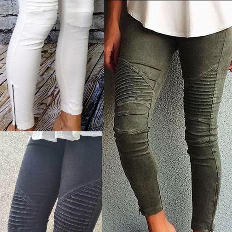 Slim pitillo, novio pantalones vaqueros de mujer falda cuero elástico de cintura alta Mujer Denim Pantalones de lápiz Pantalones