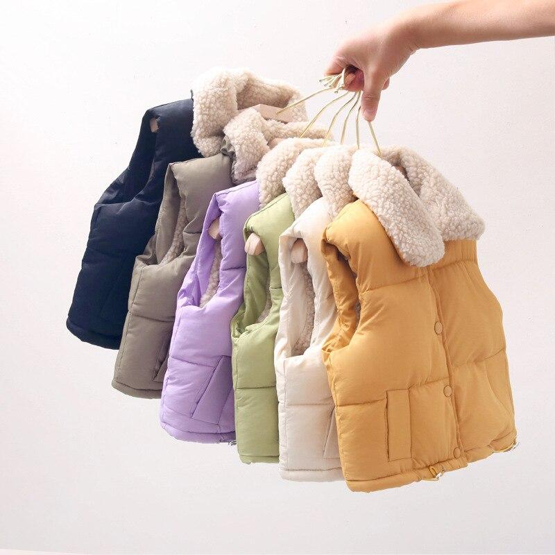Зимняя шерстяная детская одежда для мальчиков, для маленьких девочек, для новорожденных, утепленные однотонные жилеты с отворотами, яркие, ...