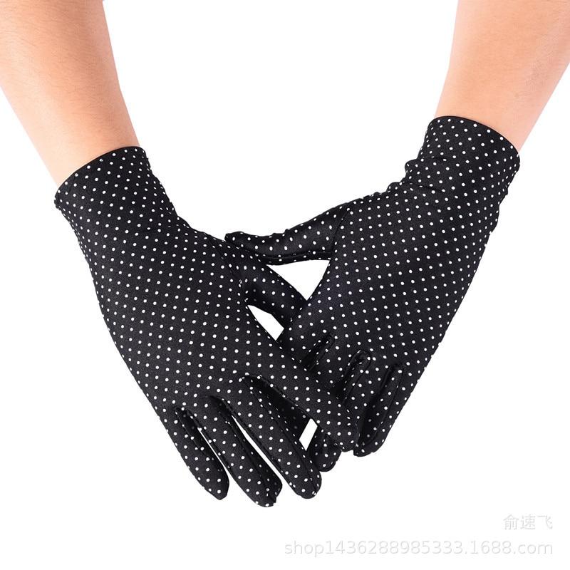 Перчатки женские из спандекса, высокоэластичные тонкие митенки в горошек, с защитой от солнца, модные короткие тонкие перчатки, весна-лето