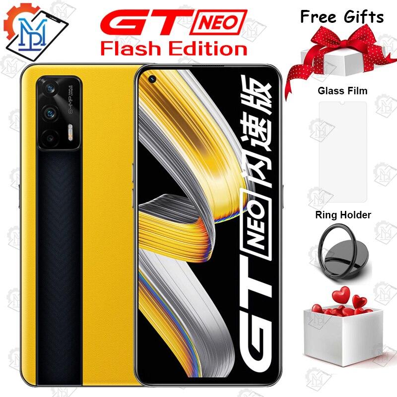 Оригинальный Realme GT Neo Flash Edition 5G мобильный телефон 6,43 дюйм 8 ГБ + 256 ГБ Dimensity 1200 Octa Core Android 11 64MP 65 Вт NFC Смартфон