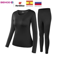 womans fleece lined thermal underwear set motorcycle skiing base layer winter warm long johns shirts tops bottom suit