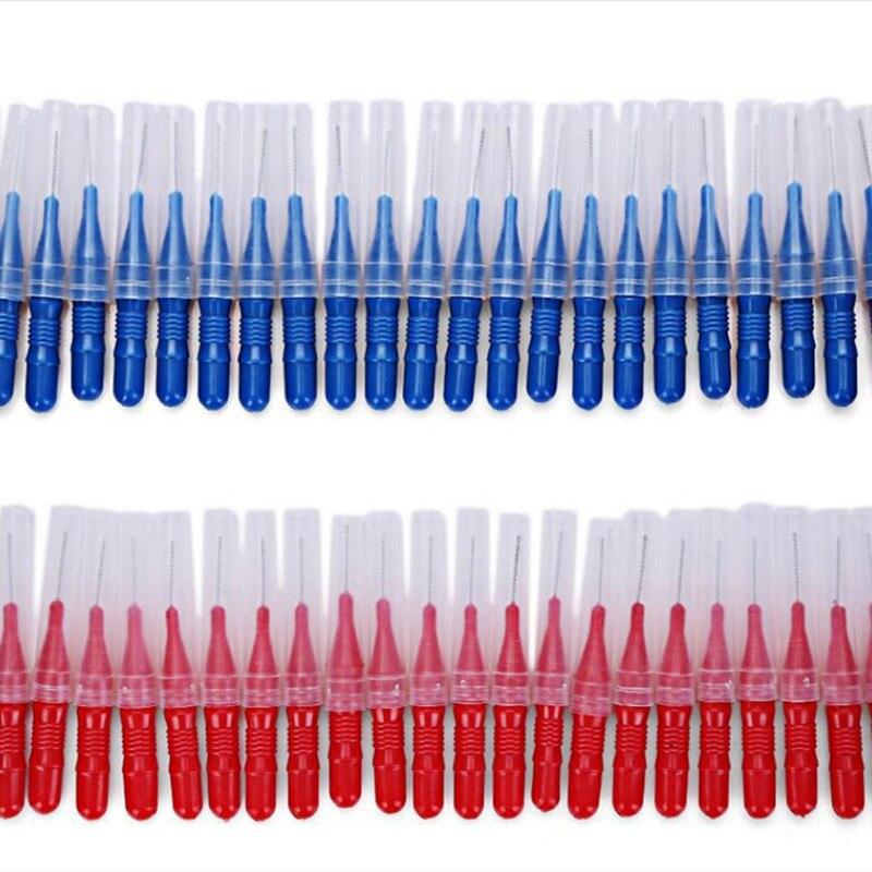 50 Pçs/set Escovado Macio Adultos Interdental Escova Palito Limpar Entre Os Dentes Fio Dental Pick Push-pull de Limpeza Dental Brushe