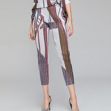 Printed Pants Womens Miyake Pleats Pencil Pants Elastic Leggings New Slim Cropped Casual Pants