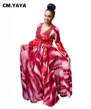 CM.YAYA – robe Maxi imprimée pour femmes, manches longues, grande taille, col en v, ceintures, longueur au sol, robes élégantes, mode L-5XL