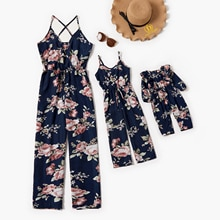 Family Matching Ladies Playsuit Party Jumpsuit V Neck Floral Bandge Romper Mom Daughter Mid Waist Lo