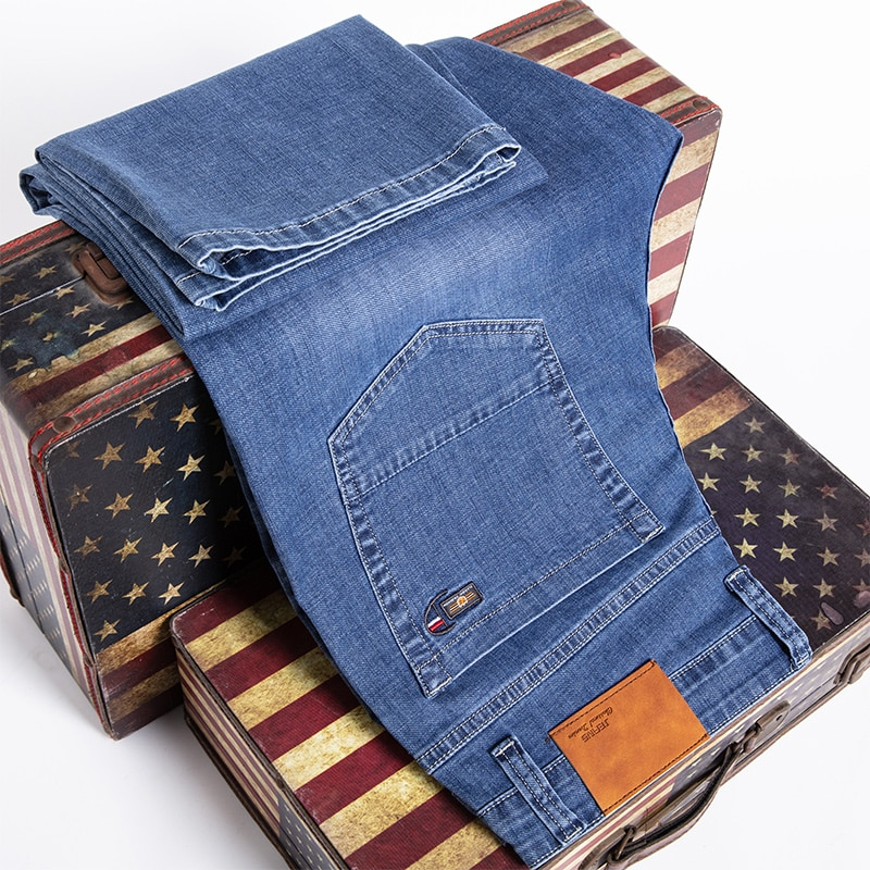 Джинсы мужские Стрейчевые стрейчевые, тонкие брюки, классические прямые брюки из денима с эффектом потертости, 42 44 46, лето