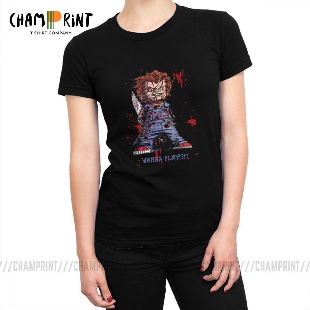 Camisetas de noche de brujas para mujeres con cuello redondo gótico y tapas de moda