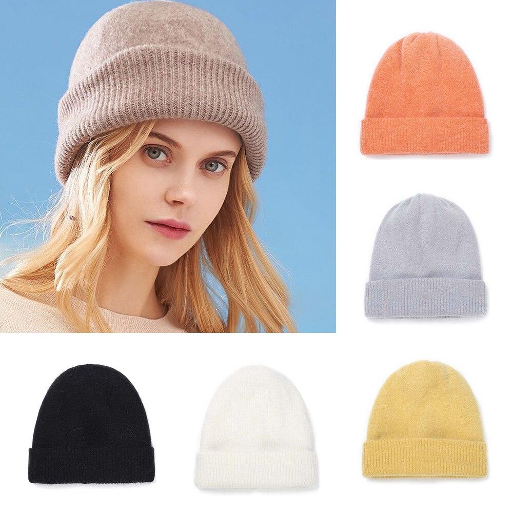 Однотонные зимние шапки для женщин, Вязаная Шапка-бини, теплая женская шапка, Осенняя шапка, Повседневные шапки с узором, мужские шапки, нови...