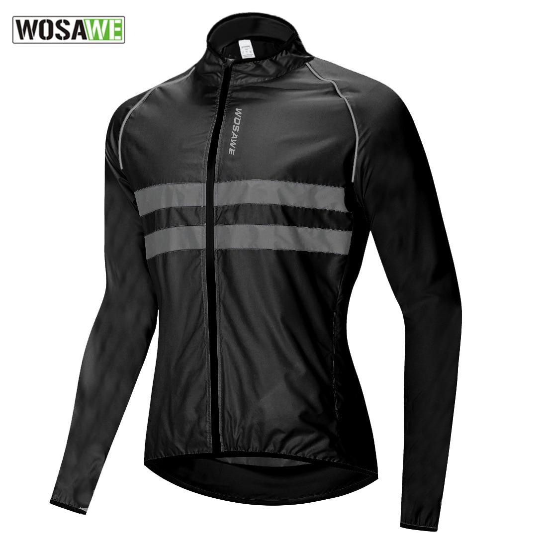 WOSAWE Ultralight Reflective Men's Cycling Jacket Long Waterproof Windproof Road Mountain Bike MTB J