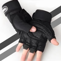men fitness heavyweight training half finger gloves non slip breathable gym wrist support bodybuilding weightlifting sports