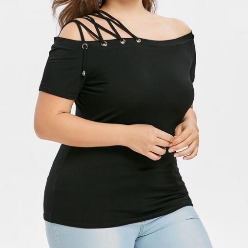 Mulher sexy blusa camisa outono preto femme solto tops plus size XL-5XL wf618
