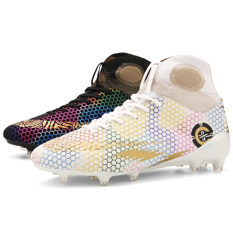 Long Spikes Outdoor Hot Sale Mens Soccer Cleats High Ankle Football Shoes Traing Boots For Men Women Child