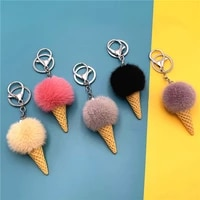 fur ball ice cream cone keychain furry acrylic key chain ring keyring pompon backpack women shoulder bags pendant 2020