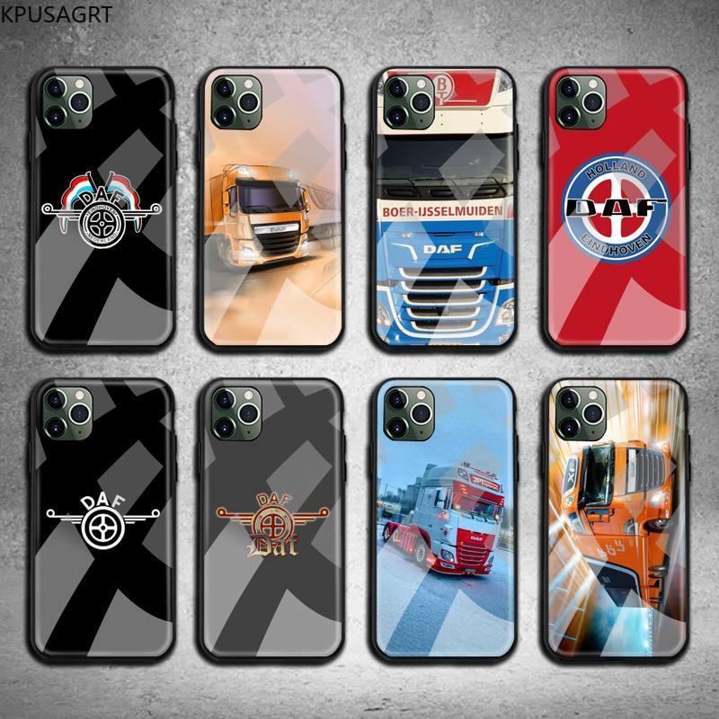 Kpusagrt luxo caminhão daf caixa do telefone vidro temperado para iphone 11 pro xr xs max 8x7 6s 6 plus se 2020 caso