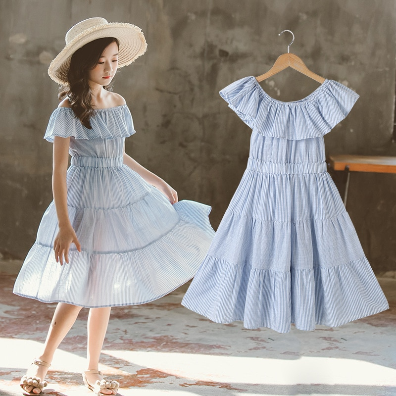 Blau Hochzeit Ärmellose Mädchen Kleid Baumwolle Sommer Off Schulter Party Neugeborenen Mädchen Kleid Blume Robe Enfant Mädchen Kleidung BW50DR