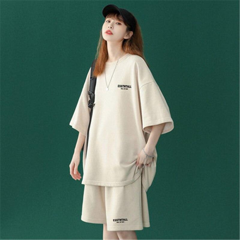 Letter Print Women's Tracksuit Suit Women Loose T-shirt Shorts Tracksuits Sets Summer Casual Short Suits