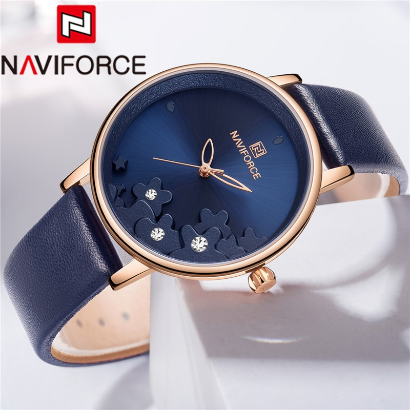 Naviforce feminino assista topo da marca de luxo ouro flor azul senhoras relógio pulso pulseira couro genuíno à prova dwaterproof água relógio feminino 5012