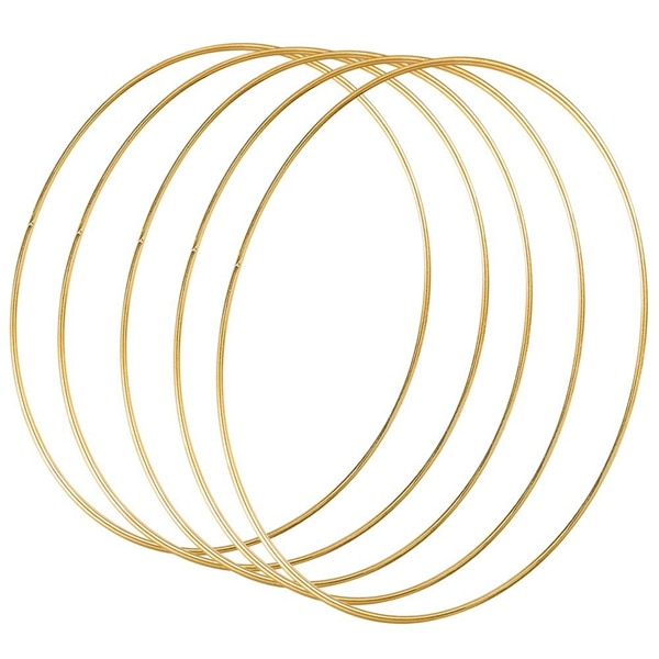 5 Pack 14 Inch Large Metal Floral Hoop Wreath Macrame Gold Hoop Rings for DIY Wreath Decor, Dream Catcher and Macrame Wall Hangi