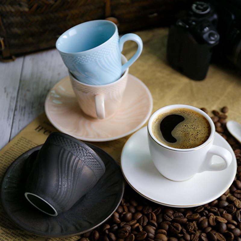 Copo de Café Lidar com Requintado Chá da Tarde Estilo Europeu Expresso Porcelana Conjunto Eco Amigável Tazzine Caffe Cozinha Jantar Barra Ef50cs