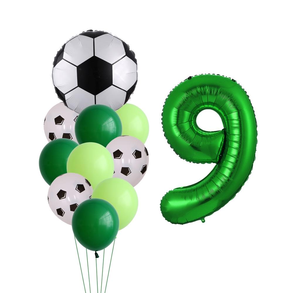 11pcs/set Football Soccer Theme Party 12'' Latex Helium Air Balloon 30'' number foil globos Boys Birthday Toys Event Party Suppl