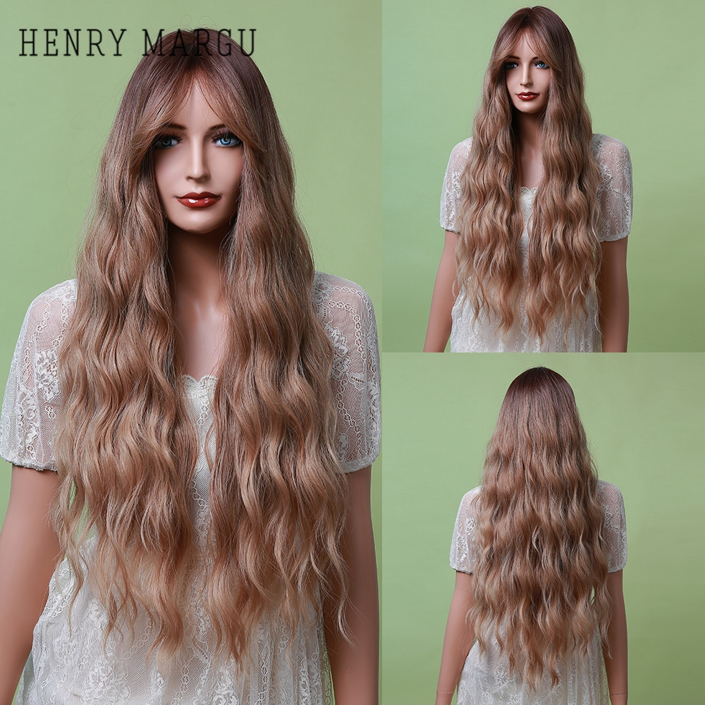 HENRY MARGU Ombre Blonde Honey Synthetic Wigs Long Wavy Natural Hair Wigs For Black/White Women Daily Cosplay Wig Heat Resistant