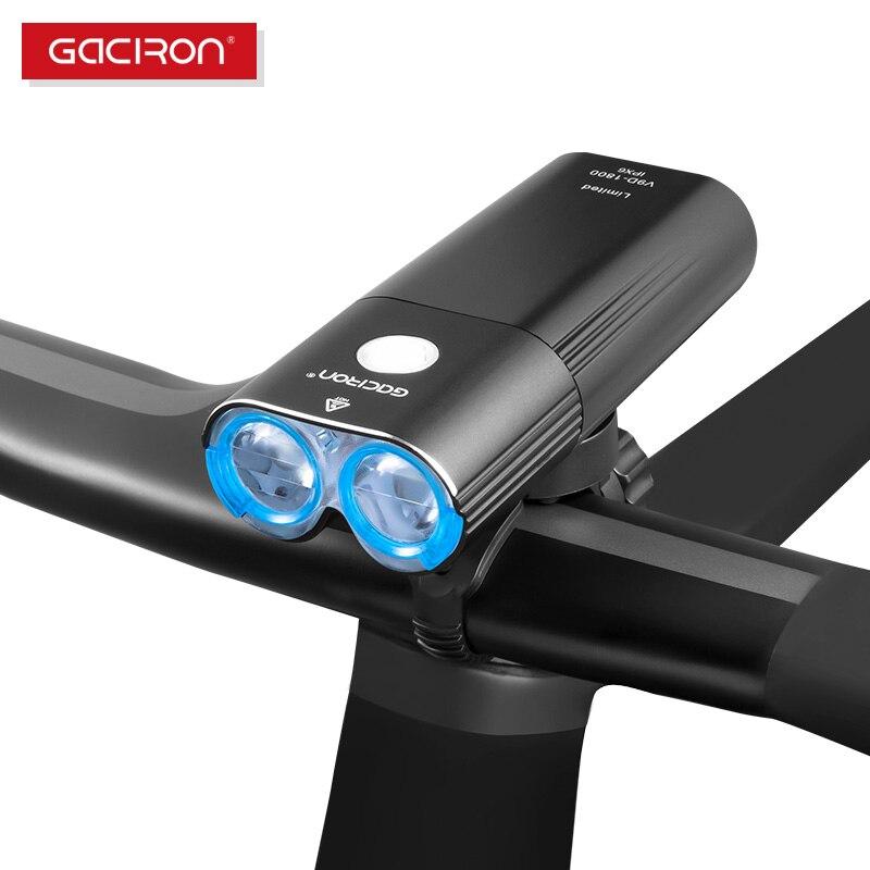 Gaciron 1800 lumens nível concurso luz da bicicleta led usb recarregável mini bicicleta 1800 lm guiador luz dianteira luz
