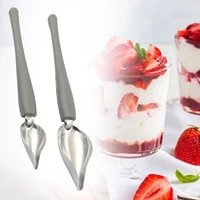 2 sizes stainless steel culinary precision drawing deco spoon set sauce drizzle spoon plate decorating spoon with tapered spout