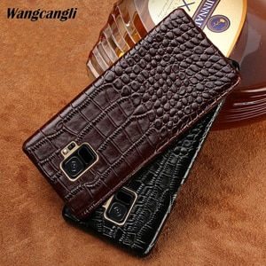 New half-pack mobile phone case for Samsung Galaxy 8 crocodile texture phone case Genuine Leather phone protection case