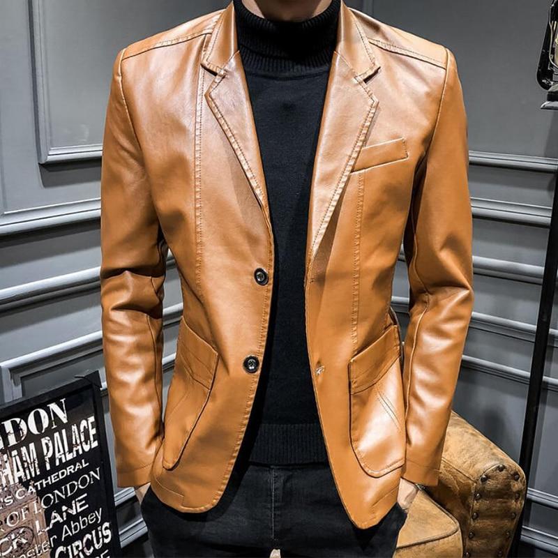 Autumn Winter Coats Jackets Men Solid Color Faux Leather Suit Jacket Long Sleeve Lapel Blazer Men's Jackets and Coats F82902