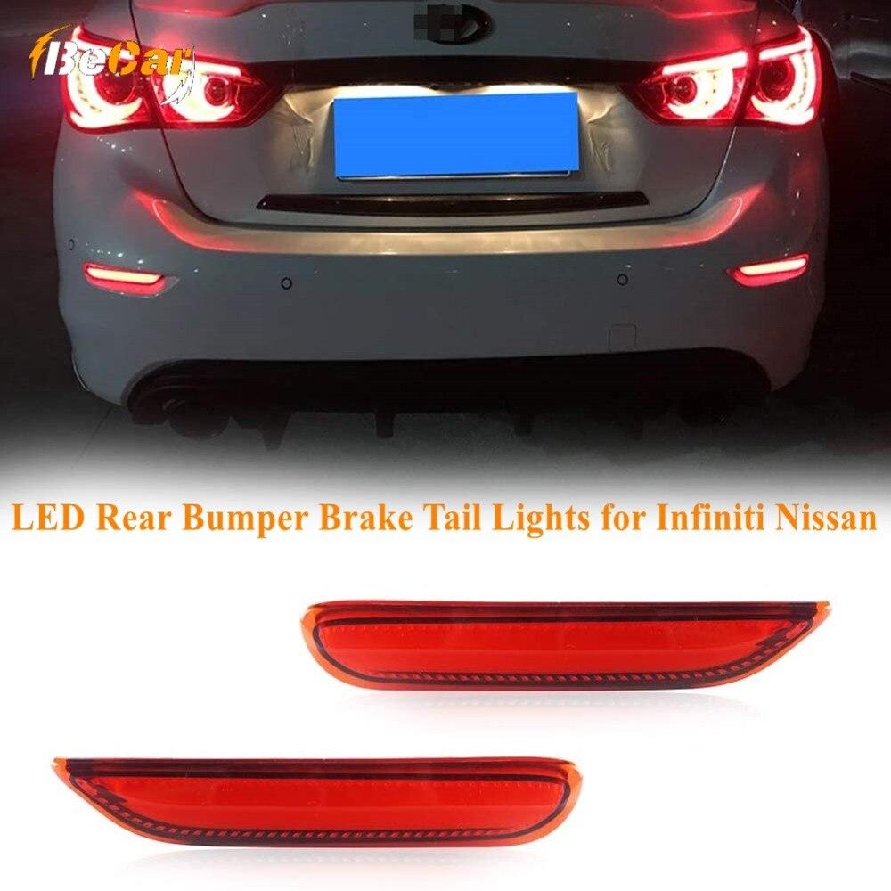 2 uds. Reflector de parachoques trasero LED rojo luces traseras de freno Kit de LUZ ANTINIEBLA TRASERA para Infiniti Q50 Q70 QX30 Q60 para Nissan X-TRAIL Teana