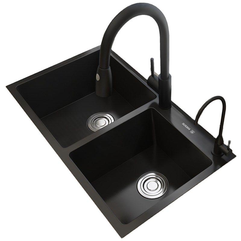 أسود نانو بالوعة مزدوجة بالوعة المطبخ بالوعة 304 الفولاذ المقاوم للصدأ اليد سميكة المنزلية بالوعة 80x45 سنتيمتر 2 أحواض مطبخ الأمعاء