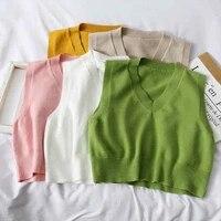ljsxls basic thin knitting sweater vest womens soild v neck top spring autumn loose sleeveless green vests casual women jumper