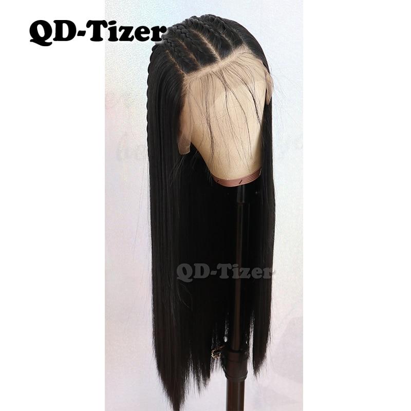Qd-tizer 13*6 pelucas frontales de encaje de pelo largo liso Color negro con pelo de bebé pelucas frontales de encaje sintético de fibra sin pegamento
