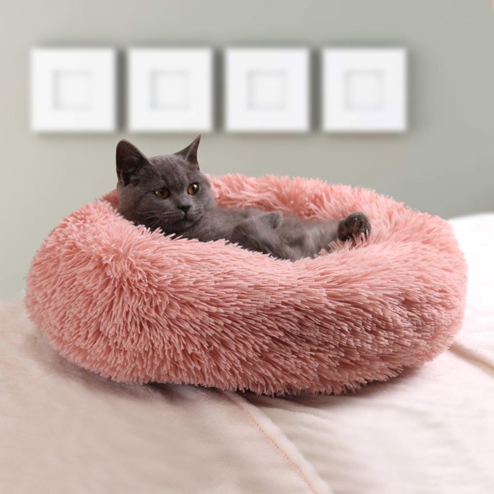 Estera de felpa para mascotas, cama de cesta redonda y esponjosa de...
