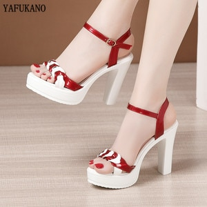Patent Leather Platform Women Sandals Brand Design Thick-Sole Open Toe Square Heel High Heels Party Wedding Shoe Plus Size 32-43