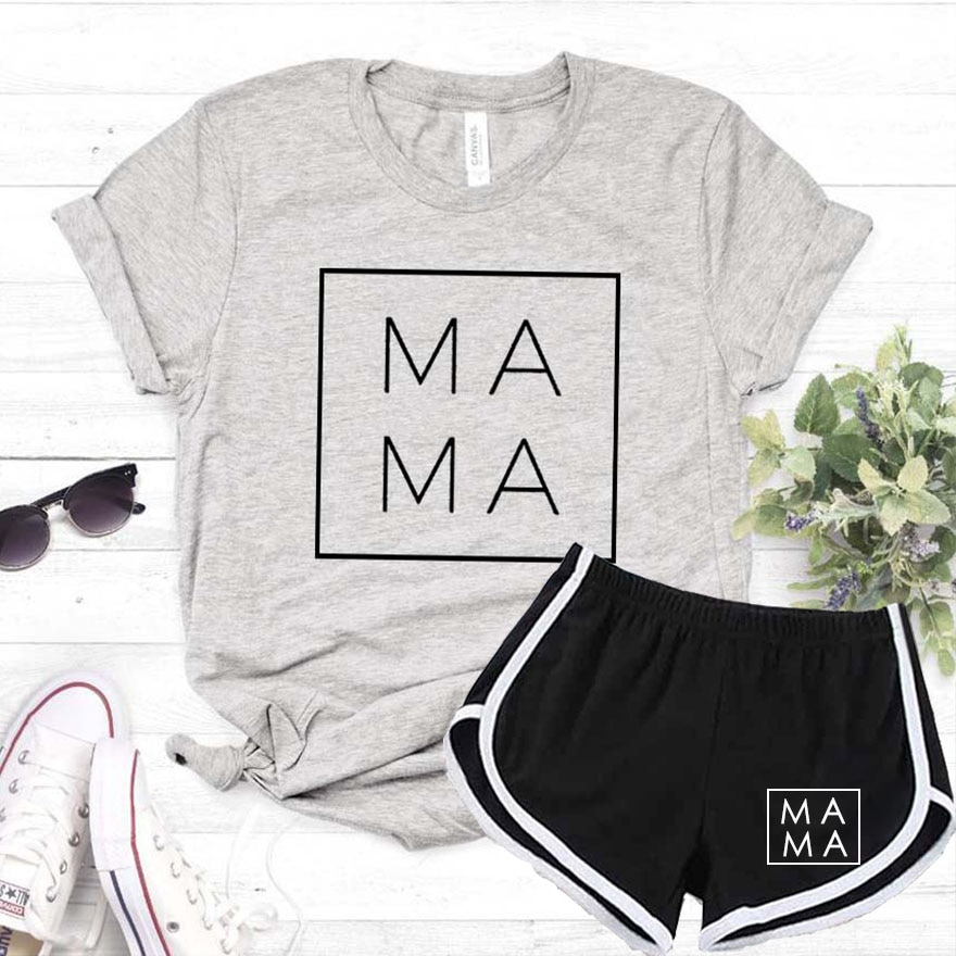 Mama Square Women Tshirt Shorts Set Casual Funny T Shirt Gift For Lady Yong Girl 2020 Summer Sexy Tracksuit Suit