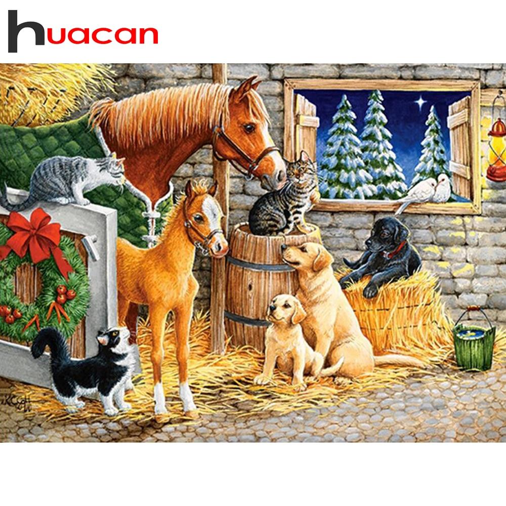 Huacan 5d pintura de diamante Animal caballo completo cuadrado/bordado de diamantes redondos punto de cruz mosaico decoración del hogar